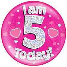 Jumbo Badge i am 5 Today Pink Holographic Dot (6 inches)