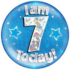 Jumbo Badge I am 7 Today Blue Holographic Cracked Ice (6 inches)