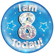 Jumbo Badge I am 8 Today Blue Holographic Cracked Ice (6 inches)