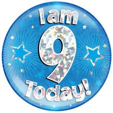 Jumbo Badge I am 9 Today Blue Holographic Cracked Ice (6 inches)
