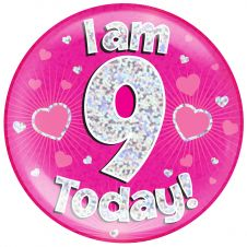 Jumbo Badge i am 9 Today Pink Holographic Dot (6 inches)