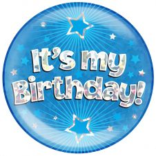 Jumbo Badge its my Birthday Blue Holographic Cracked Ice (6 inches)
