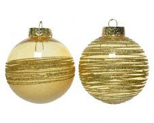 Kaemingk Bauble With Glitter 8cm - Light Gold