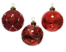 Kaemingk Glass Bauble Bead Decoration - 8cm Red