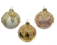 Kaemingk Glass Bauble With Glass Beads - 8cm