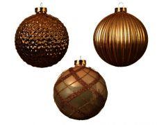 Kaemingk Glass Baubles Shiny, Matt, Deco Mix Pack 12 - Light Gold