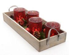 Kaemingk Glass Tealight Advent On Wood Tray - Red