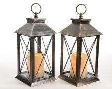 Kaemingk LED Plastic Lantern With Timer - 2 Assorted Colours: Bronze Antique / Silver Antique - 14x14x34cm