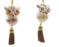 Kaemingk Pearl Owl With Hanger - 9.5cm
