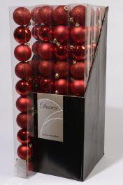 Kaemingk Plain Shatterproof Baubles Pack 10 - 60mm Christmas Red Mix