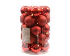Kaemingk Plain Shatterproof Baubles Pack 34 - 80mm Cherry Red
