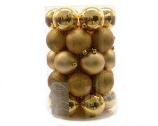 Kaemingk Plain Shatterproof Baubles Pack 34 - 80mm Light Gold Mix