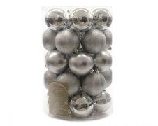 Kaemingk Plain Shatterproof Baubles Pack 34 - 80mm Silver