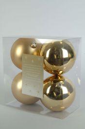 Kaemingk Plain Shatterproof Baubles Pack 4 - 100mm Gold