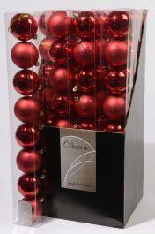 Kaemingk Plain Shatterproof Baubles Pack 8 - 70mm Christmas Red