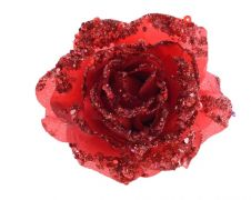Kaemingk Rose On Clip With Glitter