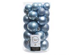 Kaemingk Shatterproof Bauble Mixed Tube of 30 - S/Blue