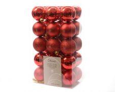 Kaemingk Shatterproof Baubles - 60mm, Mixed Pack 30 - Christmas Red