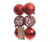 Kaemingk Shatterproof Baubles - 80mm, Mixed Pack 6 - Christmas Red