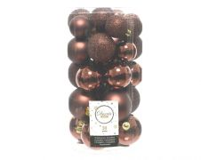 Kaemingk Shatterproof Baubles Mixed Tube 30 - Rosewood