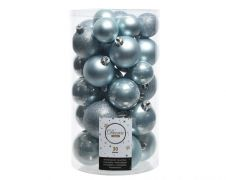Kaemingk Shatterproof Baubles Mixed Tube of 30 - Blue Mist