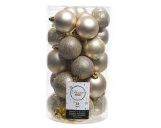 Kaemingk Shatterproof Baubles Mixed Tube of 30 - Pearl