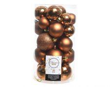Kaemingk Shatterproof Baubles Mixed Tube of 30 - Rusty Brown