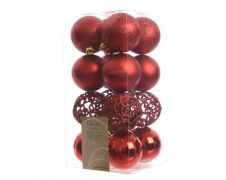 Kaemingk Shatterproof Baubles Pack 16 - 60mm Christmas Red Mix
