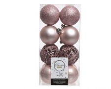 Kaemingk Shatterproof Baubles Pack 16 - Blush Pink 6cm Mix