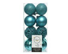Kaemingk Shatterproof Baubles Pack 16 - Open Turquoise 6cm Mix