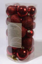 Kaemingk Shatterproof Baubles Pack 30 - 40/50/60mm Christmas Red Mix