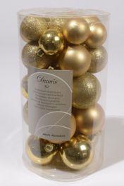 Kaemingk Shatterproof Baubles Pack 30 - 40/50/60mm Light Gold Mix