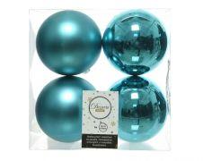 Kaemingk Shatterproof Baubles Pack 4 - Turquoise 10cm