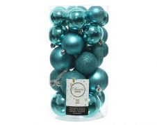 Kaemingk Shatterproof Baubles Tube 30 - Turquoise Assorted Sizes