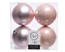 Kaemingk Shatterproof Plain Baubles 100mm - Pack 4 Blush Pink