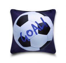 KIDS CUSHION COVER FOOTBALL BLUE