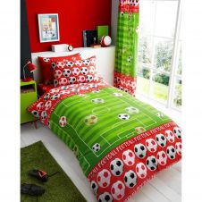 KIDS RANGE CURTAINS ROTARY GOAL RED 66x72