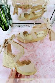 Lace Up Wedge Sandals Beige