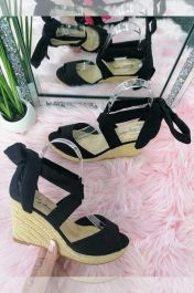 Lace Up Wedge Sandals Black