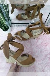 Lace Up Wedge Sandals Camel