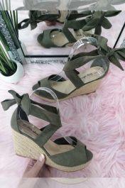Lace Up Wedge Sandals Khaki