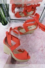 Lace Up Wedge Sandals Orange