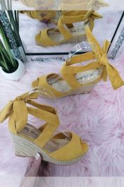 Lace Up Wedge Sandals Yellow