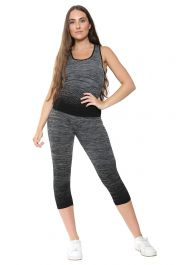 Ladies Activewear Black Leggings Vest Top Set