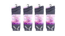 Ladies Cotton Rich Grey Socks With Bow (Dozen)
