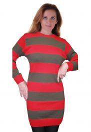Ladies Red & Green Stripe Knitted Jumper