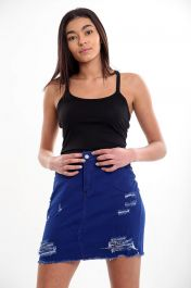 LADIES HIGH WAISTED BLUE SKIRT