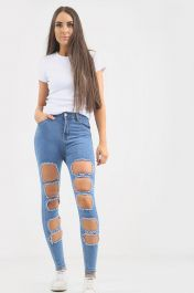 Ladies High waisted multi ripped Jeans