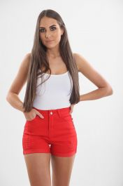 Ladies high waisted Red Shorts
