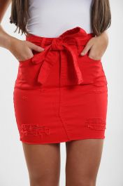 LADIES HIGH WAISTED RED SKIRT WITH BELT